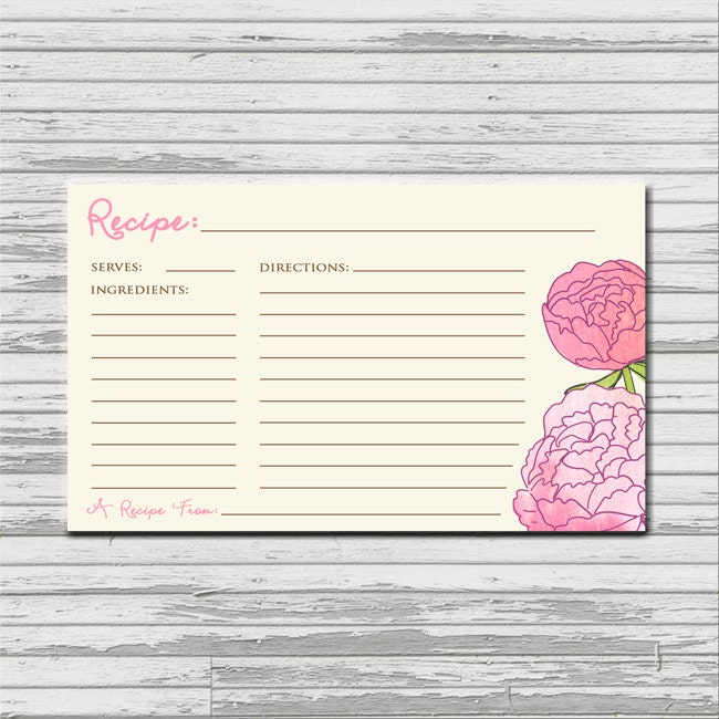 Pink Recipe Cards For Bridal Shower Pink Peonies Recipe Card 3x5