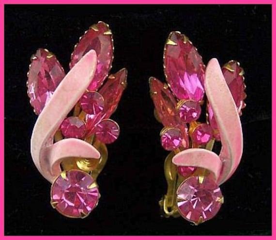 """Vintage Earrings Clip On Style BIG Pink Enamel & Rhinestones Gold Metal 1.5"""" EX"""