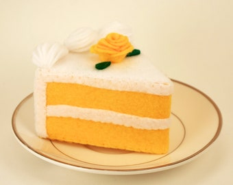 Double Layer Yellow Felt Cake with Yellow rose top