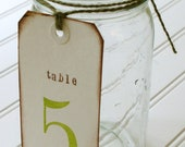 Unique Table Numbers: Hand Stamped Shipping Tags. Wedding Table Decor. Escort Cards. Shabby Chic Wedding. Rustic Wedding. Vintage Wedding.