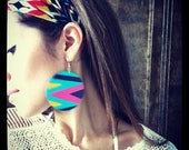 Supa funky-fresh, hand painted wooden earrings