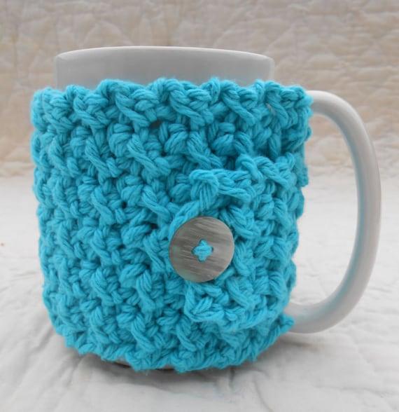Crocheted Coffee Cozy / Mug Warmer in Turquoise