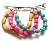 Colorful Chunky Beachy Bohemian Waxed Cord Bracelet