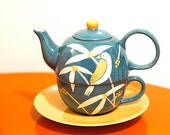 Bird Teapot with Cup and Plate