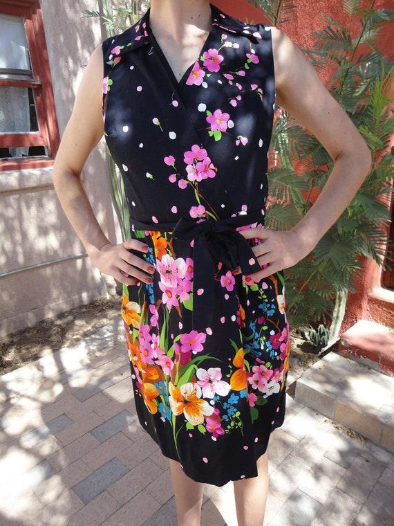 Vintage 60s Black Floral Wrap Sun Dress
