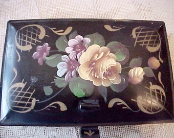 Charming 1950's Hand Painted Tole Lidded Crumb Tray with Yellow Rose and Lavender Flowers