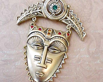 Lovely and Unusual Warrior Face Jeweled Brooch