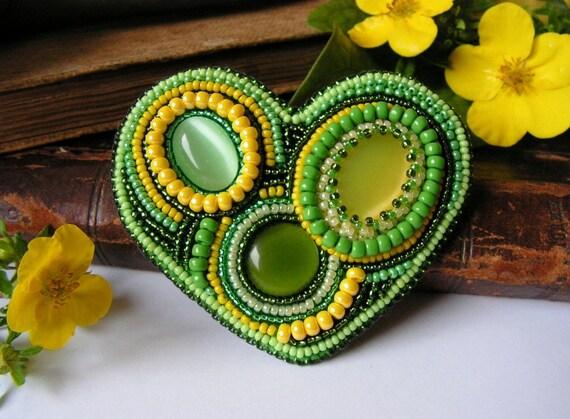 SALE Beadwork Heart Brooch Bead embroidery Brooch Green Yellow Brooch Heart Brooch 60% OFF