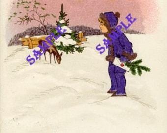Digital Download-Vintage German Christmas Postcard with Boy and Deer