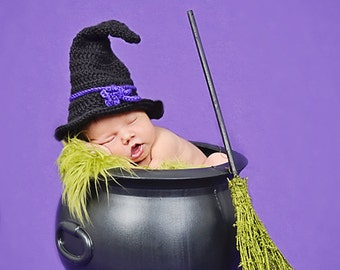 Instant Download - Witch Hat Crochet Pattern - PDF - Newborn to Adult - photography prop - Halloween costume