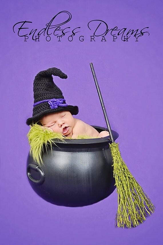 Newborn Crochet Witch Hat Pattern : Instant Download Witch Hat Crochet Pattern PDF Newborn