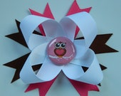 Pink, Brown, and White Boutique Bow with Cute Owl Center