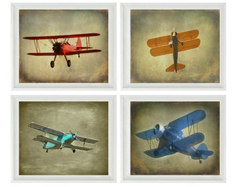 Vintage Airplane Art - Baby Boy Nursery Wall Art , Big Boy Room, Vintage Art, Biplane Art , Plane Print, Aviation Home Decor, Photograph