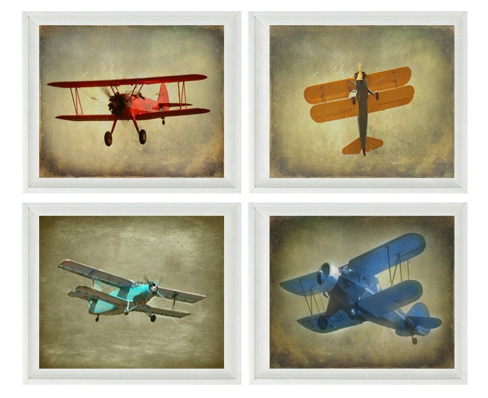 Vintage airplane photography biplane photo airplane nursery for Boys wall art