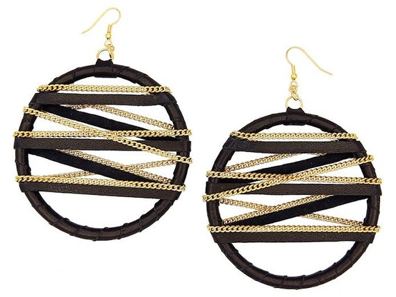 Large High Fashion Black and Gold Leather Shredded Handmade Statement Hoop Earrings with Gold Chains - Geometric Lines - Wearable Art