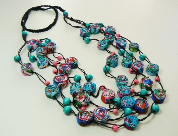 Textile Necklace, turquoise and fuchsia, sparkling