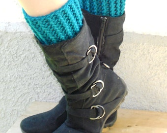 crochet boot cuffs in teal, leg warmers