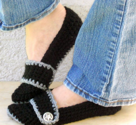 Night sky slippers, crochet slippers, womens crochet slippers, booties, shoes, socks, womens slippers, button strap slippers, black slippers