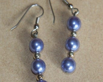 Vintage blue faux pearl dangle earrings