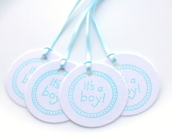 Baby shower favor tags, 10 Blue & white hand stamped gift tags for baby boy, its a boy hang tag