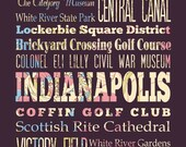 Indianapolis, Indiana, Typography Poster/Bus/ Subway Roll Art 16X20-Floral Series-Indianapolis' Attractions Wall Art Decoration-LHA-186-C03