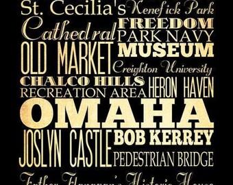 Omaha, Nebraska, Typography Art Poster / Bus  / Transit / Subway Roll Art 18X24 - Omaha's Attractions Wall Art Decoration -  LHA-202