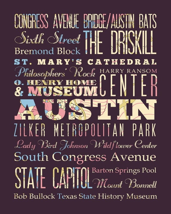 Austin, Texas, Typography Poster / Bus  / Subway Roll Art 16X20-Floral Series-Austin's Attractions Wall Art Decoration-LHA-166-C03