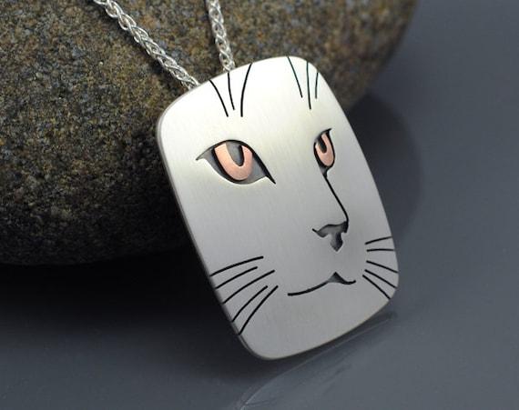 Cat Portrait Pendant Necklace - Sterling Silver and Copper