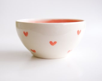 Heart Ceramic Bowl Mothers Day Gift Daughter Vintage Coral Mint Teal Red Cute Ceramics Ice Cream Cereal Bowl RossLab