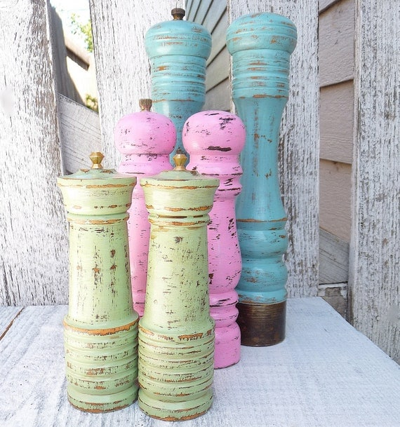 Colorful shabby chic salt and pepper shaker set by Colorful salt and pepper shakers