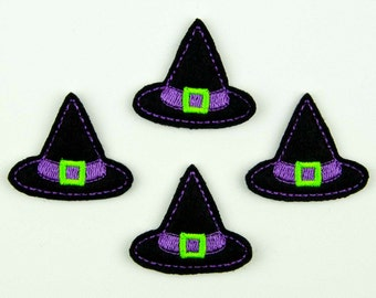 WITCH HAT - Embroidered Felt Embellishments / Appliques - Black, Purple & Green  (Qnty of 4) SCF3090