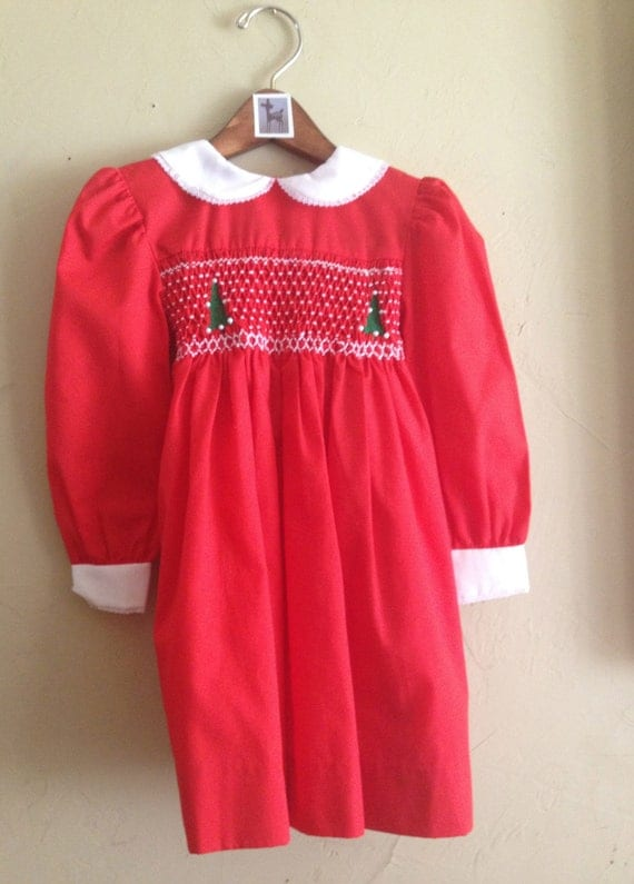 Vintage christmas smocked polly flinders dress 4t by fawnvintage01