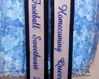 2 Personalized Sashes Satin Banner King Queen Festival Pageant