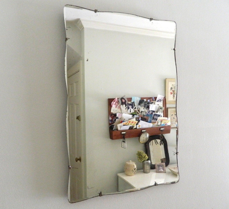 Vintage beveled mirror frameless scalloped edges for Frameless beveled mirror