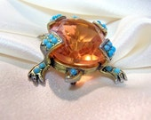 Vintage Weiss Tangerine Quartz and Turquoise Turtle Pin or Brooch