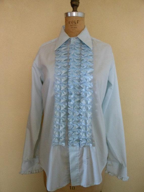 1970s Men 39 S Blue Ruffled Tuxedo Shirt