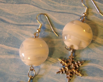 Pierced Earrings Metal Snowflake and White Glass Disks Frozen Snow Queen