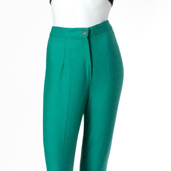 70s Stirrup Pants Green Fitted Vintage Emerald Small