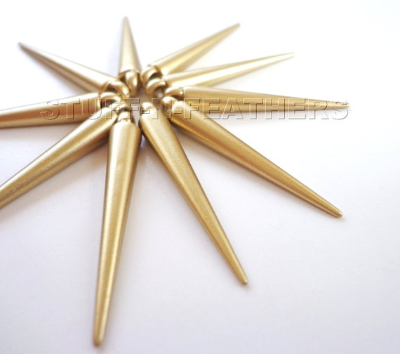 CLEARANCE - Spike beads - MATTE GOLD finish medium length spikes, 35 mm, 24 pieces / S4-24