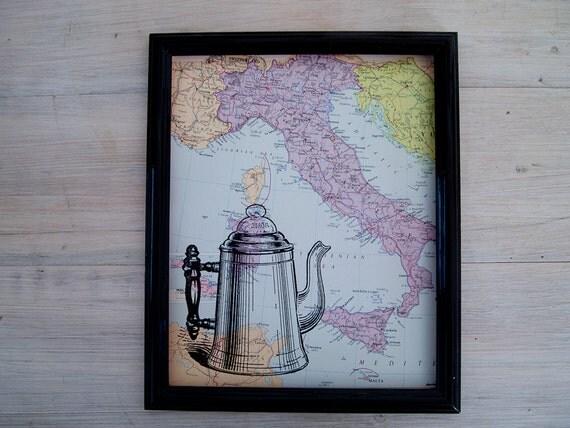 "digital wall art, coffee pot print on vintage 8 x 10"" map of italy"
