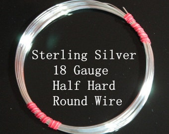 18 g ga Gauge Sterling Silver Wire - Round - Half Hard - sold by 3 ft increments (RW1801SS)