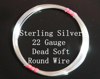 22 g ga Gauge Sterling Silver Wire - Round - Dead Soft - sold by 5 feet increments (RW2202SS)