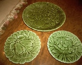 Sarreguemines Made in France Dessert Plate 3 Piece Set Green Majolica