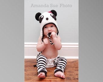Panda Bear Hat Pattern - Crochet Pattern 11 - Beanie and Earflap Pattern - us and uk Terms - Newborn to Adult - INSTANT DOWNLOAD