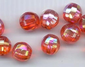 Six gorgeous and rare vintage West German glass beads - 12 mm fiery reddish orange with AB flash and longitudinal faceting