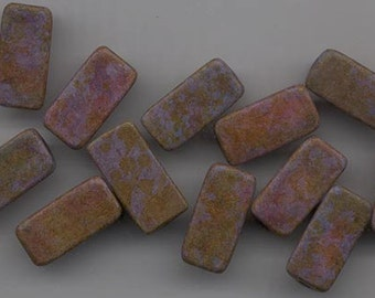 Twelve gorgeous Greek ceramic beads - matte purple color-washed with golden brown, green, rust - 20 x 10 mm triangular beads