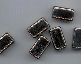 Six gorgeous Greek ceramic beads - metallic bronze finish - 20.5 x 13 mm rectangular cubes