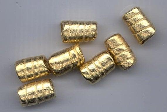 Seven gorgeous large-holed Greek ceramic beads -shiny gold finish  - 20 x 13 mm spiraled tubes