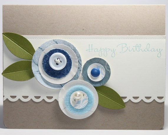 Happy Birthday Circle Flowers Stampin Up Handmade Card