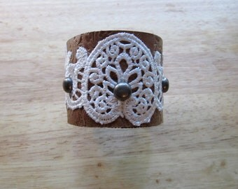 Embossed Leather & Lace Cuff with Metal Studs and Chocolate Lining